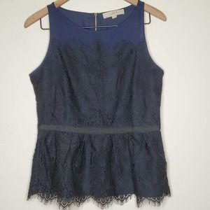 LOFT Navy Black Lace Peplum Sleeveless Blouse,sz 6